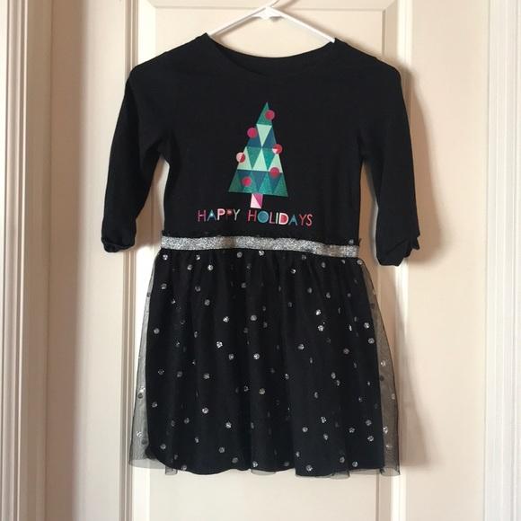 bb9a56541203 Cat & Jack Dresses   Happy Holidays Black And Glitter Girls Dress ...